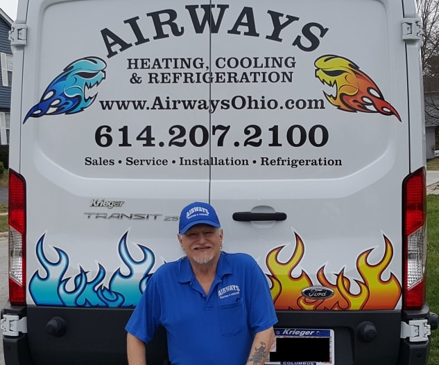 Image of the back of the Airways van with John Ferrante