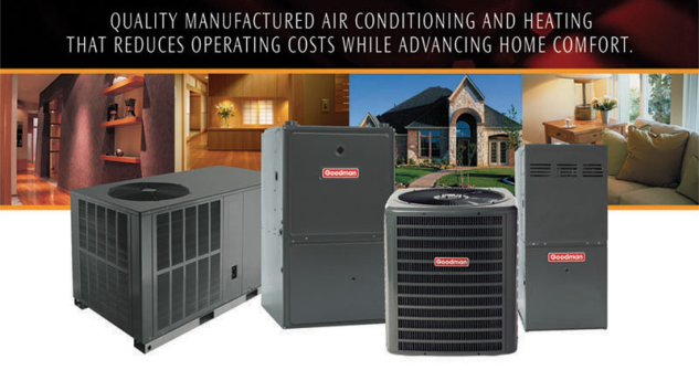 Image of Goodman products with the comment: Quality manufactured air conditioning and heating that reduces operating costs while advancing home comfort.